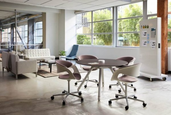 communal commercial office space with HON furniture