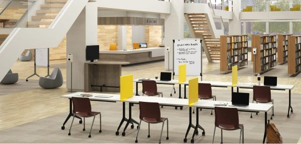 work stations in a modern library