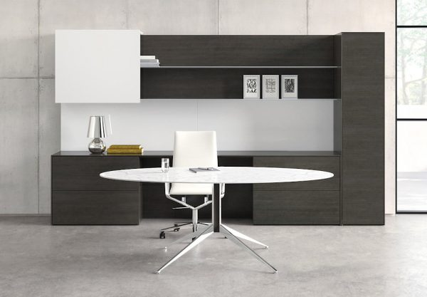 minimalist, modern office space with white office chair and desk