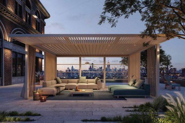 modern outdoor lounge suite under outdoor roof