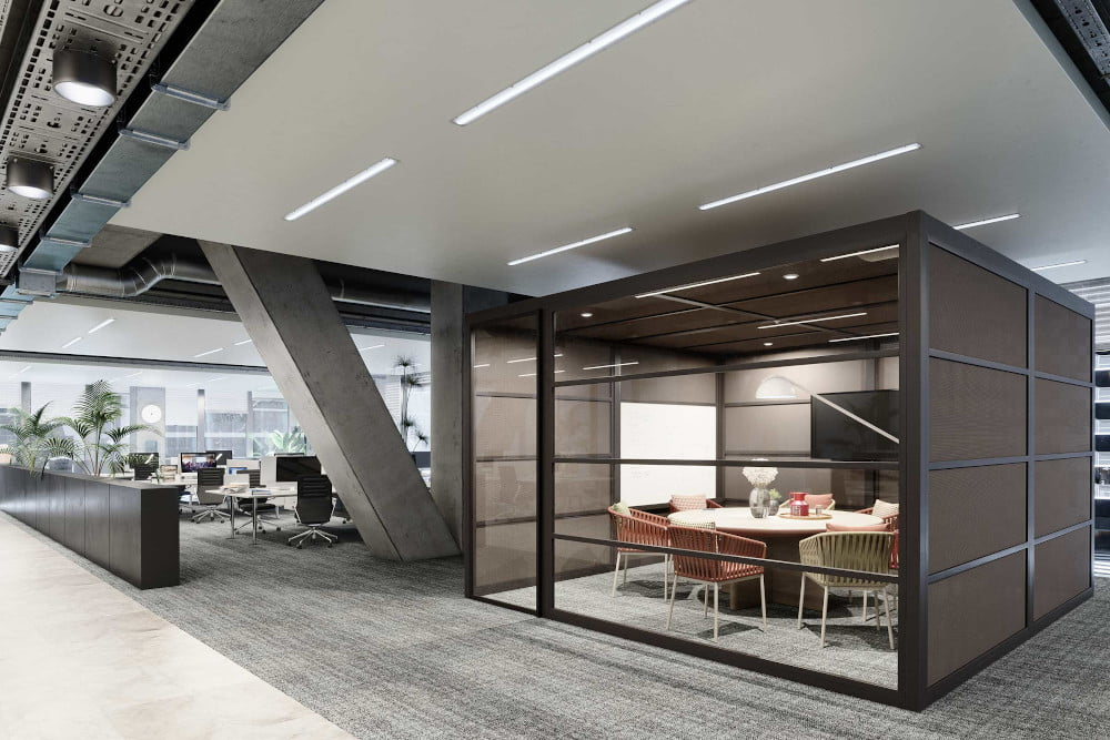 modern office space furnished with HON office furniture