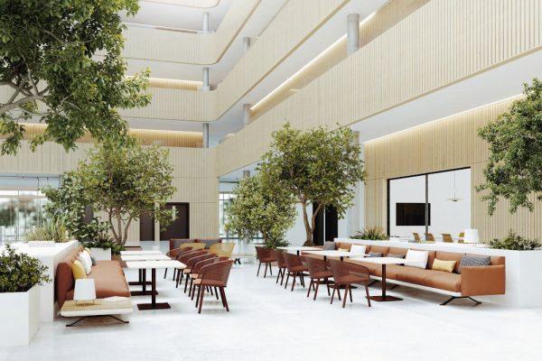 modern furniture in an open plan restaurant
