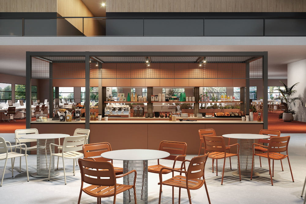 Minimalist furniture for hospitality spaces like restaurants