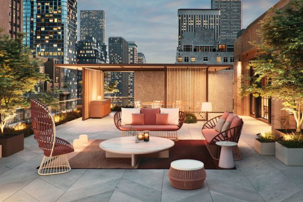 rooftop lounge area with modern outdoor furniture