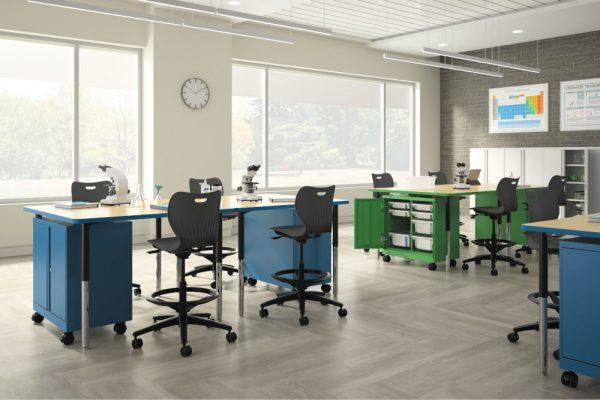 modern work stations in an educational space